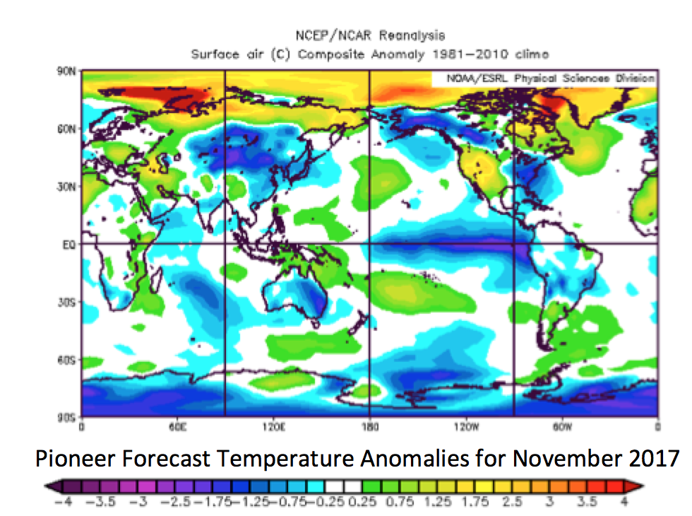 National Climate Report November State Of The Climate US - Us forecast temperature map